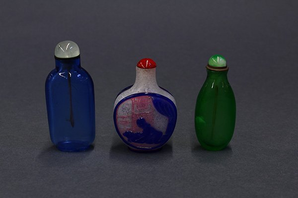 Three Chinese Glass Snuff Bottles
