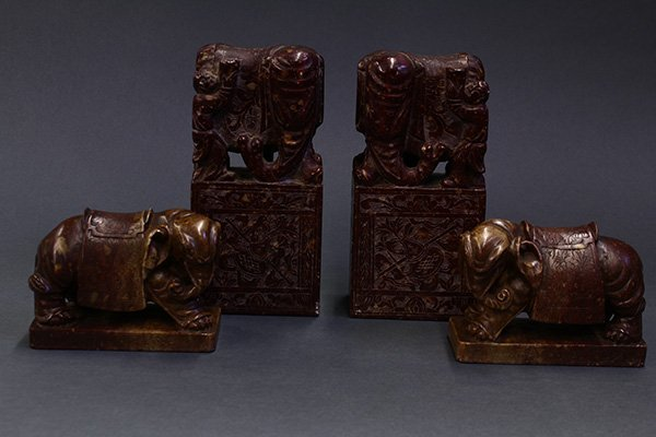 Chinese Soapstone carving Bookends