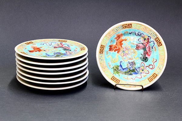 Set of Chinese Porcelain Plates, Lions