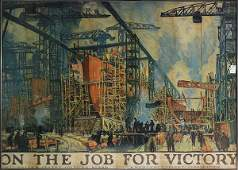 """World War I poster, """"On the Job for Victory"""""""
