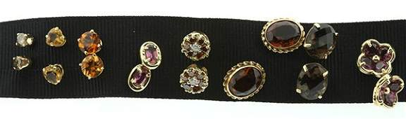 Collection of gold stud earrings citrine garnet quartz