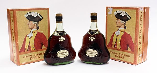 Two bottles of Cognac Hennessy Extra