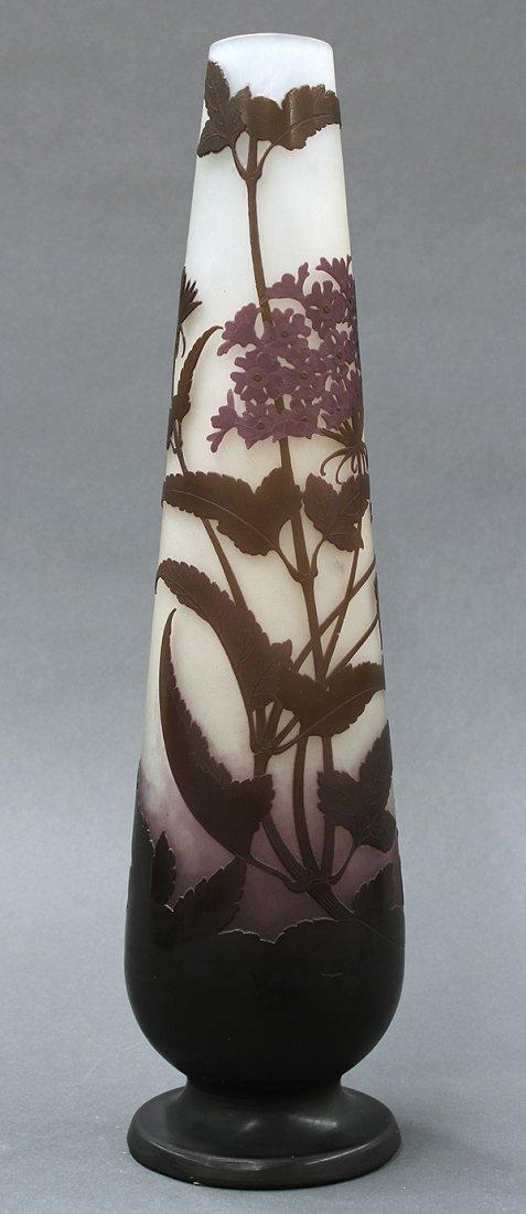 Emile Galle Art Nouveau tall cameo glass vase