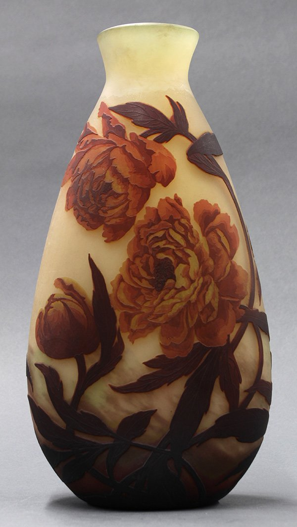 Muller Freres cameo glass peony vase
