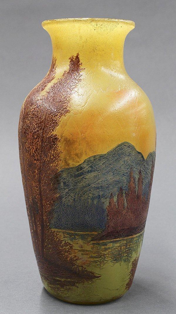 Legras, French enameled cameo glass scenic vase