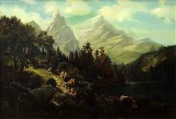 Painting, Hermann Herzog, Mountain Vista with Homestead
