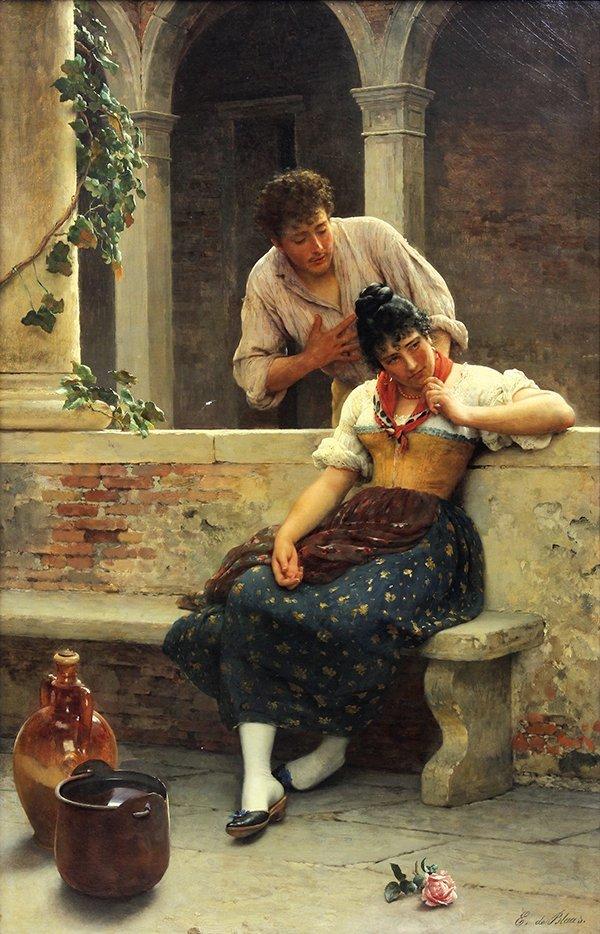 Painting, Eugène de Blaas, The Proposal
