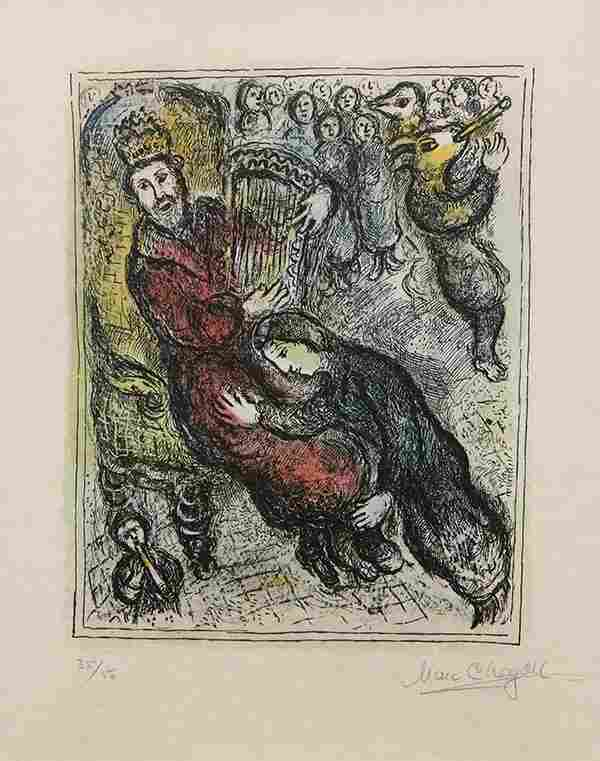 Print, Marc Chagall, King David and His Lyre, 1979