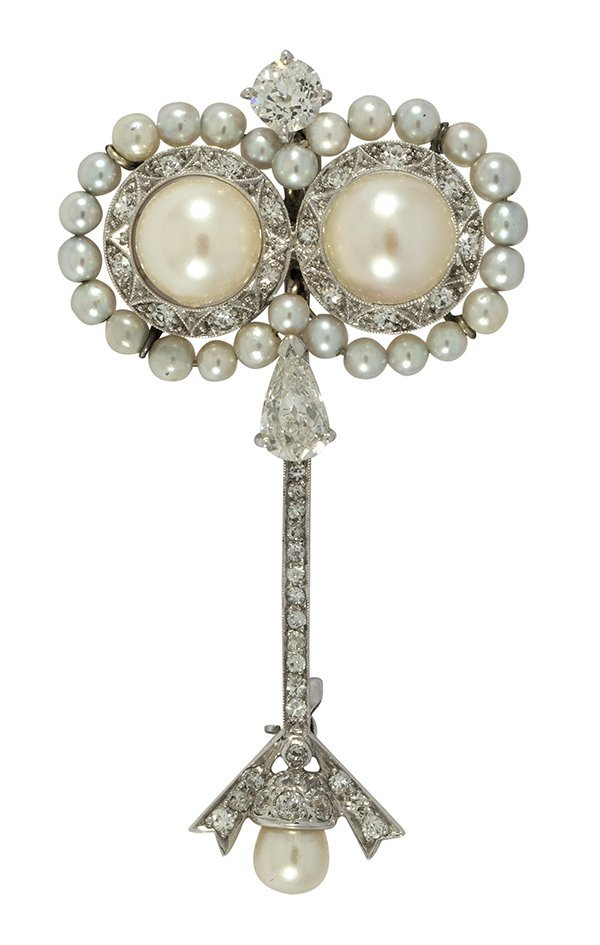 Vintage diamond, cultured pearl and 18k white gold broo