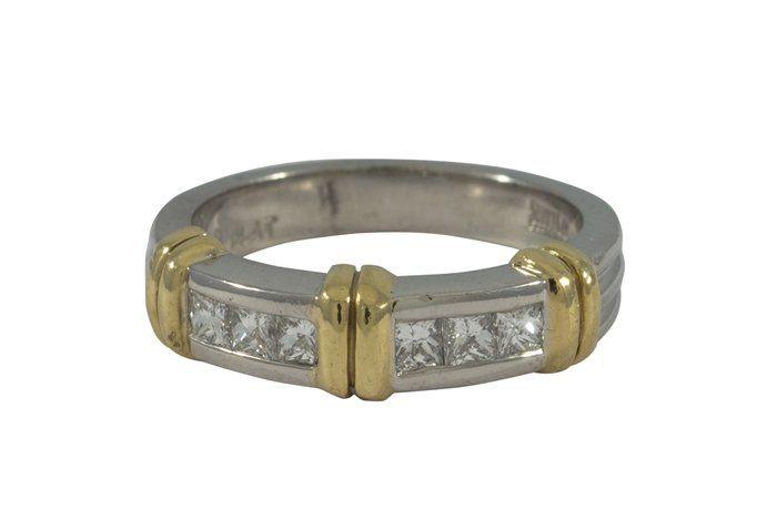 Gentleman's diamond yellow gold platinum band ring