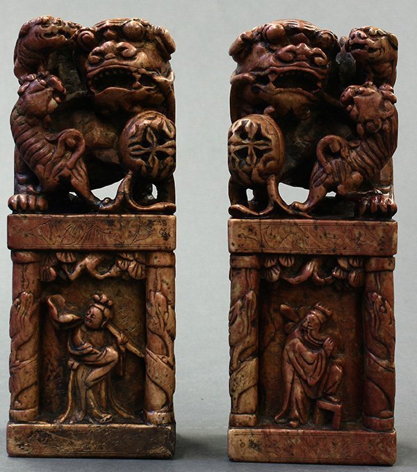 Chinese Soapstone Carvings, Fu-lions