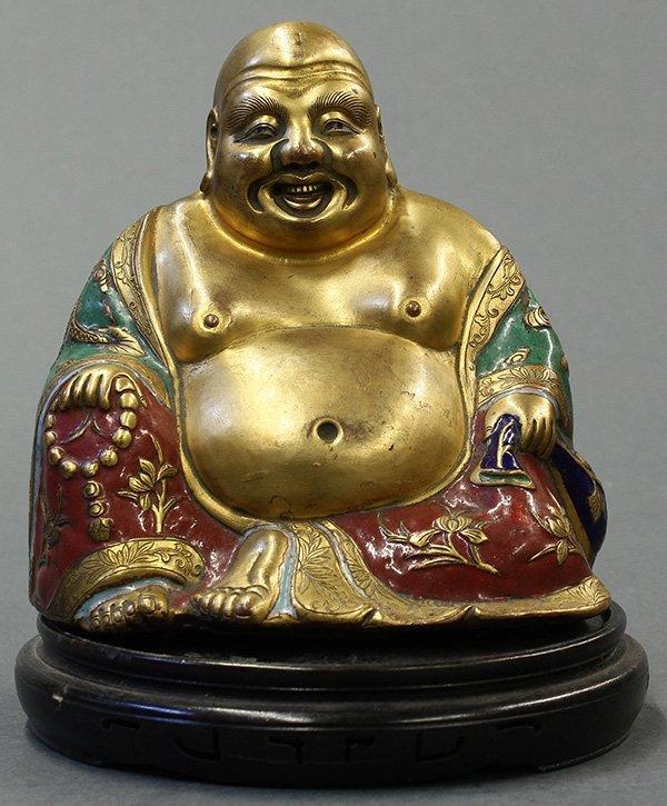 Chinese Gilt Enamel Metal Budai