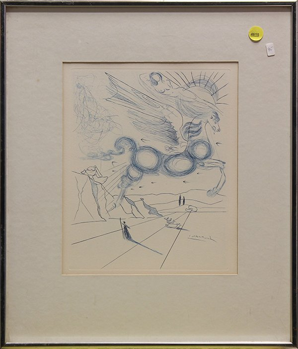 After Salvador Dalí, Pegasus in Flight with an Angel