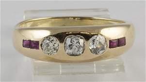 Edwardian diamond ruby yellow gold band ring