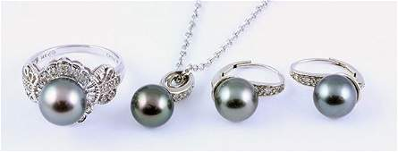 Collection of black cultured pearl diamond white gold