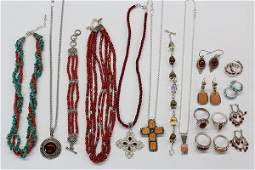 Collection of gem and sterling silver jewelry items