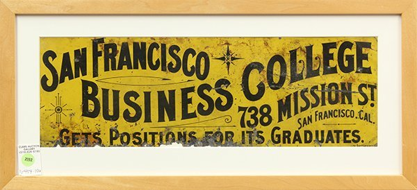 San Francisco Business College tin lithographic sign
