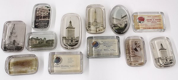 (lot of 12) Early 20th century scenic paperweights