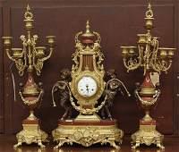 Louis XVI style clock with garniture
