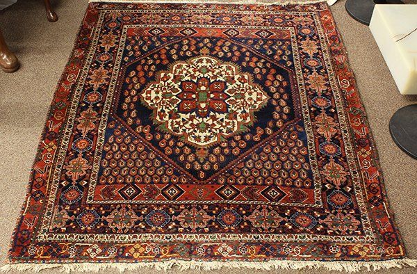 "Semi antique Persian Afshar carpet, 4'2"" x 5'1"""