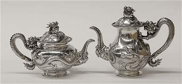 Chinese Export silver coffee pot and teapot, 35.83
