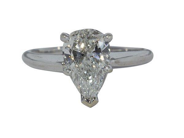 Diamond and white gold pear shape ring, GIA