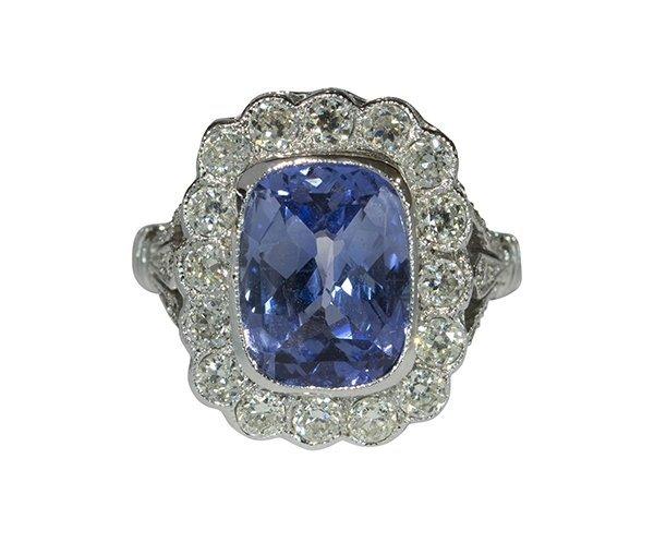 Art Deco style sapphire diamond white gold ring