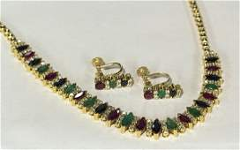 Multi-stone yellow gold necklace and earring suite