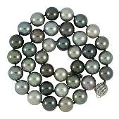 Black South Sea cultured pearl white gold necklace
