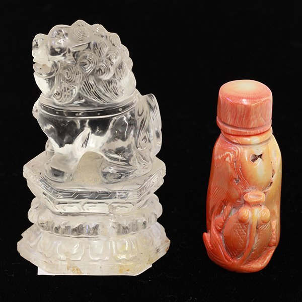 Chinese Coral Snuff Bottle, Crystal Lion