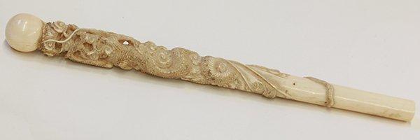 Chinese/Japanese Ivory Parasol Handle, Dragon