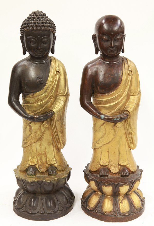 Two Chinese Metal Buddhist Figures