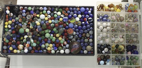 A large collection of antique and vintage marbles