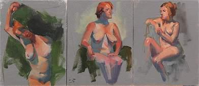 Set of nine Figural Study paintings