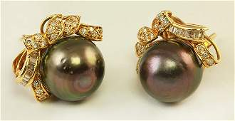 Pair of black South Sea cultured pearl and diamond