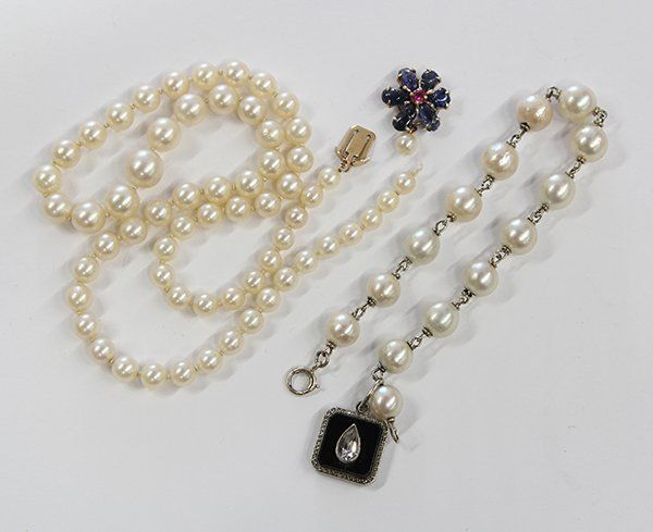 Collection of cultured pearl jewelry items