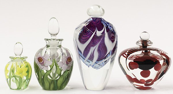 Group of art glass stoppered bottles by Lundberg
