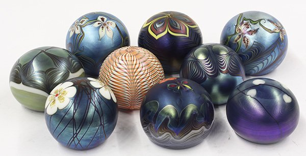 Iridescent art glass paperweights