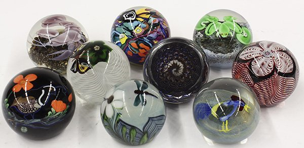 Art glass paperweights by Lundberg Studios