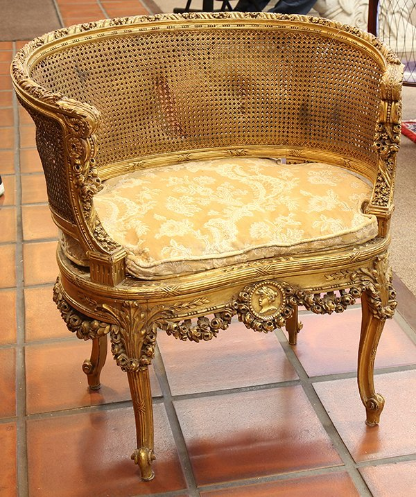 louis xvi style giltwood salon chair. Black Bedroom Furniture Sets. Home Design Ideas