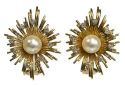 Pair of cultured pearl diamond yellow gold earrings