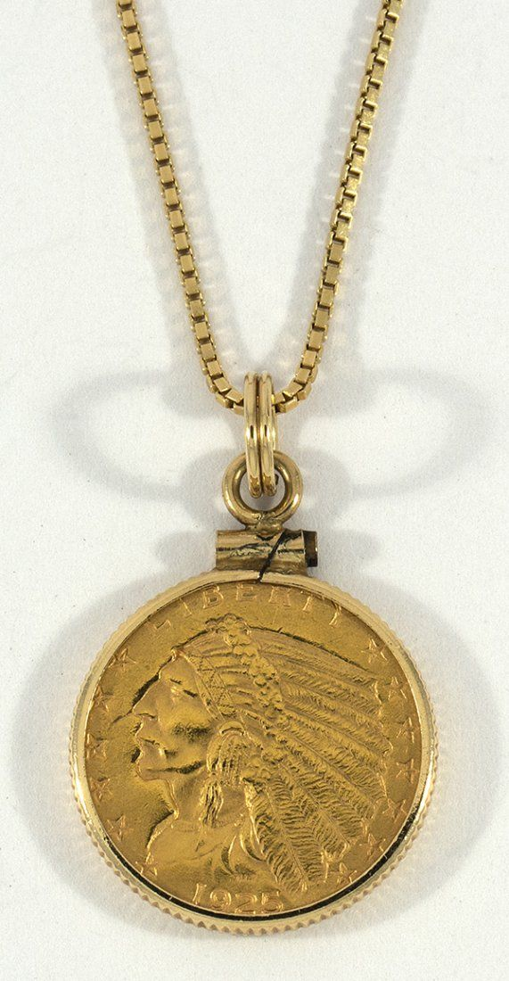 US 2 1/2 dollar gold coin pendant necklace