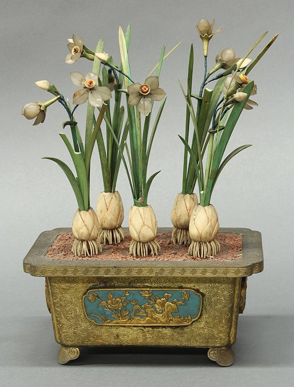 Chinese Brass Planter with Flowers
