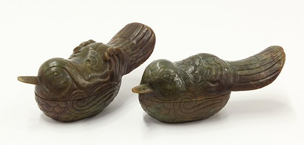 Chinese Duck Form Hardstone Boxes