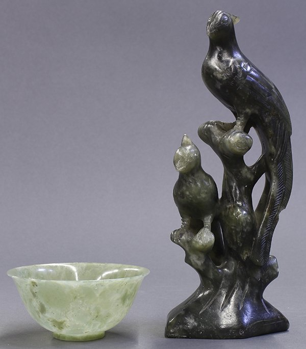Two Chinese Hardstone Bird and Bowl