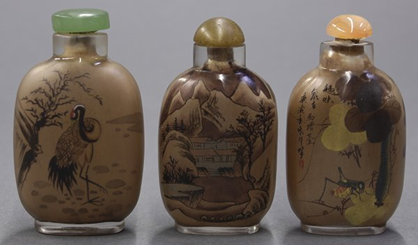 Three Chinese Inside Painted Snuff Bottle