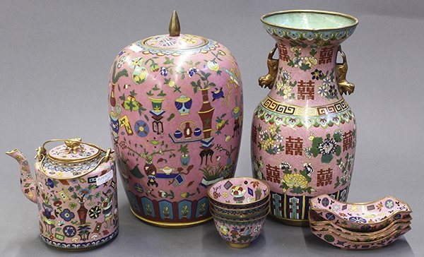 Group of Chinese Pink Enamel Items