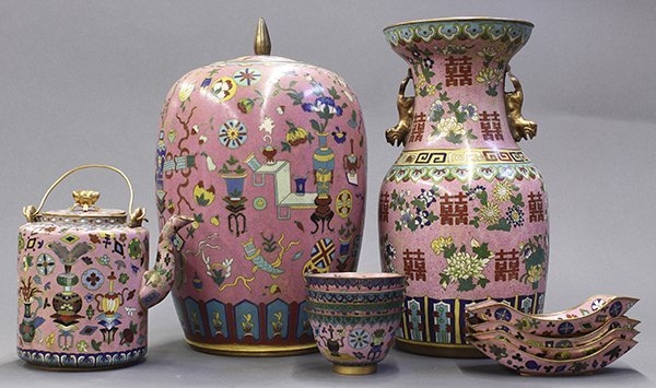 Group of Chinese Pink Enamel Items - 2