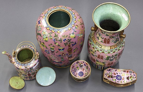 Group of Chinese Pink Enamel Items - 3