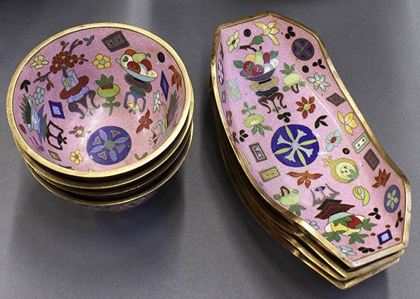Group of Chinese Pink Enamel Items - 5